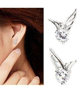 Hemore 1 Paire Boucle d'Oreille Cadeaux Idéal pour Femmes Bijoux Elégante Belle Simple Ailes De Diamant
