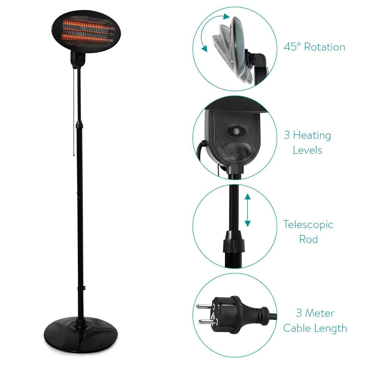 Navaris Estufa eléctrica con Soporte - Calentador de 3 Niveles para Cambiador de bebés - Estufa de Pared automática de Color Negro: Amazon.es: Hogar