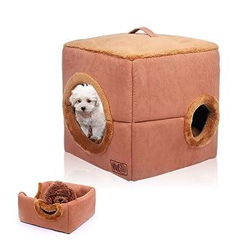 La Vie - Cama plegable para mascotas, diseño de cachorros y gatos, cálida y