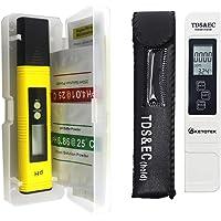 KETOTEK TDS EC Meter PH Testing Digital 2 in 1 Water Quality Test Meter with ATC 0-14PH Water PH Tester Pen Measure Portable Hydroponics HP TDS&EC Instrument LR44 Battery Included (PH+TDS&EC)