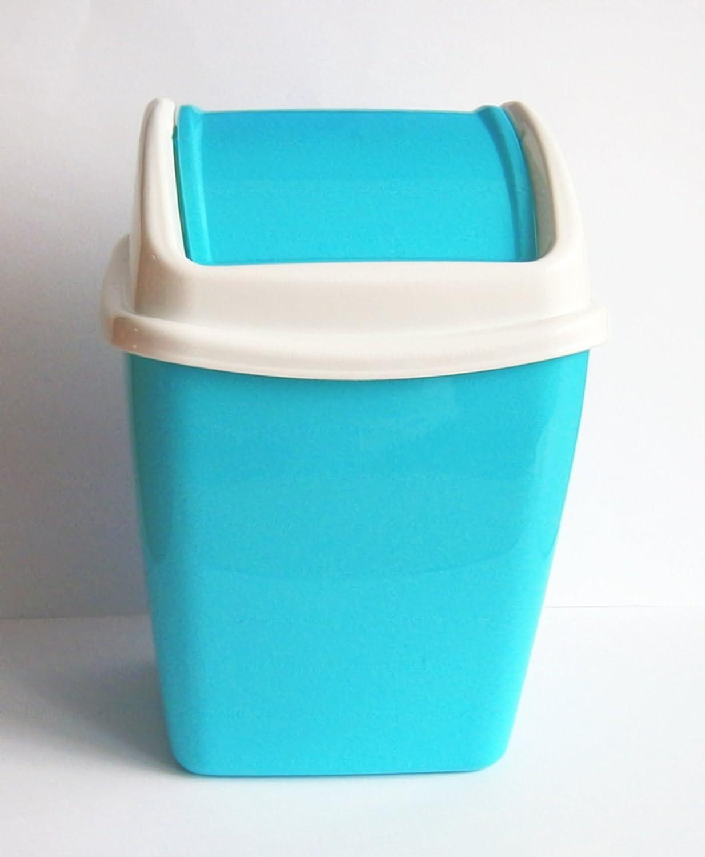 TISCHABFALLEIMER 1, 1L Schwingdeckel Kosmetikeimer 3-Varianten Papierkorb Mülleimer Abfalleimer 51 (Blau) Eco