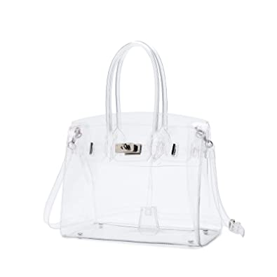 Lam Gallery Womens Clear Purse Handbags Fashion PVC Plastic See Through Bags  for Working Concert Transparent Shoulder Bags(Silver Hardware)  Handbags   ... 9619102a15557