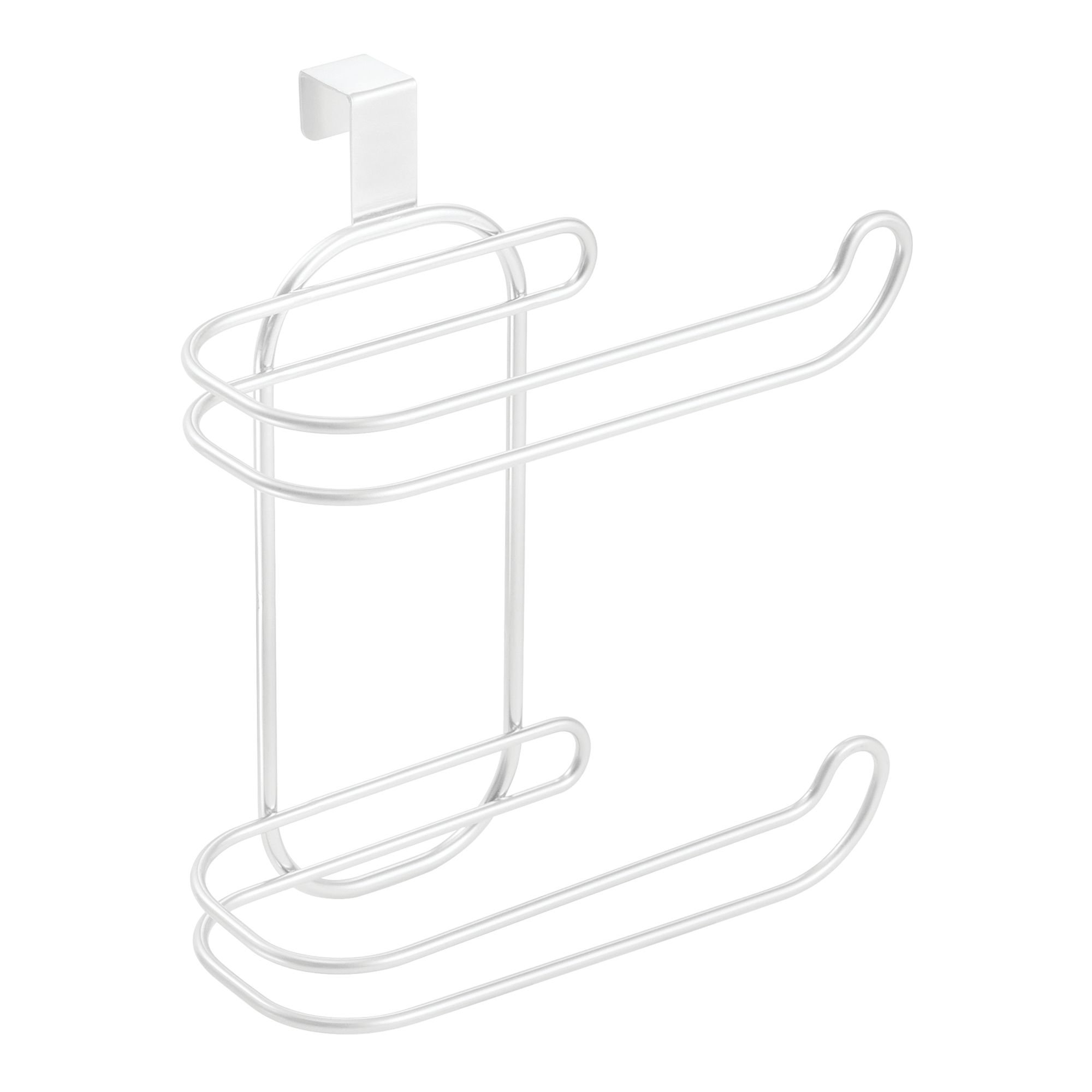 mDesign Compact Hanging Over The Tank Toilet Tissue Paper Roll Holder and Dispenser for Bathroom Storage - Holds 1 Extra Roll - Space Saving Design - Pack of 2, Durable Metal Wire in White Finish by mDesign (Image #5)