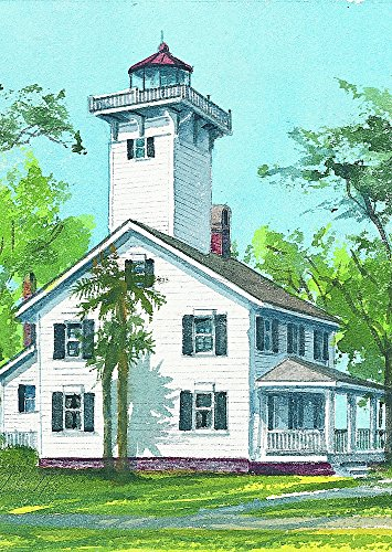 Haig Point Range Rear Lighthouse, Daufuskie Island, South Carolina. Gerald C. Hill Matted Watercolor Art -