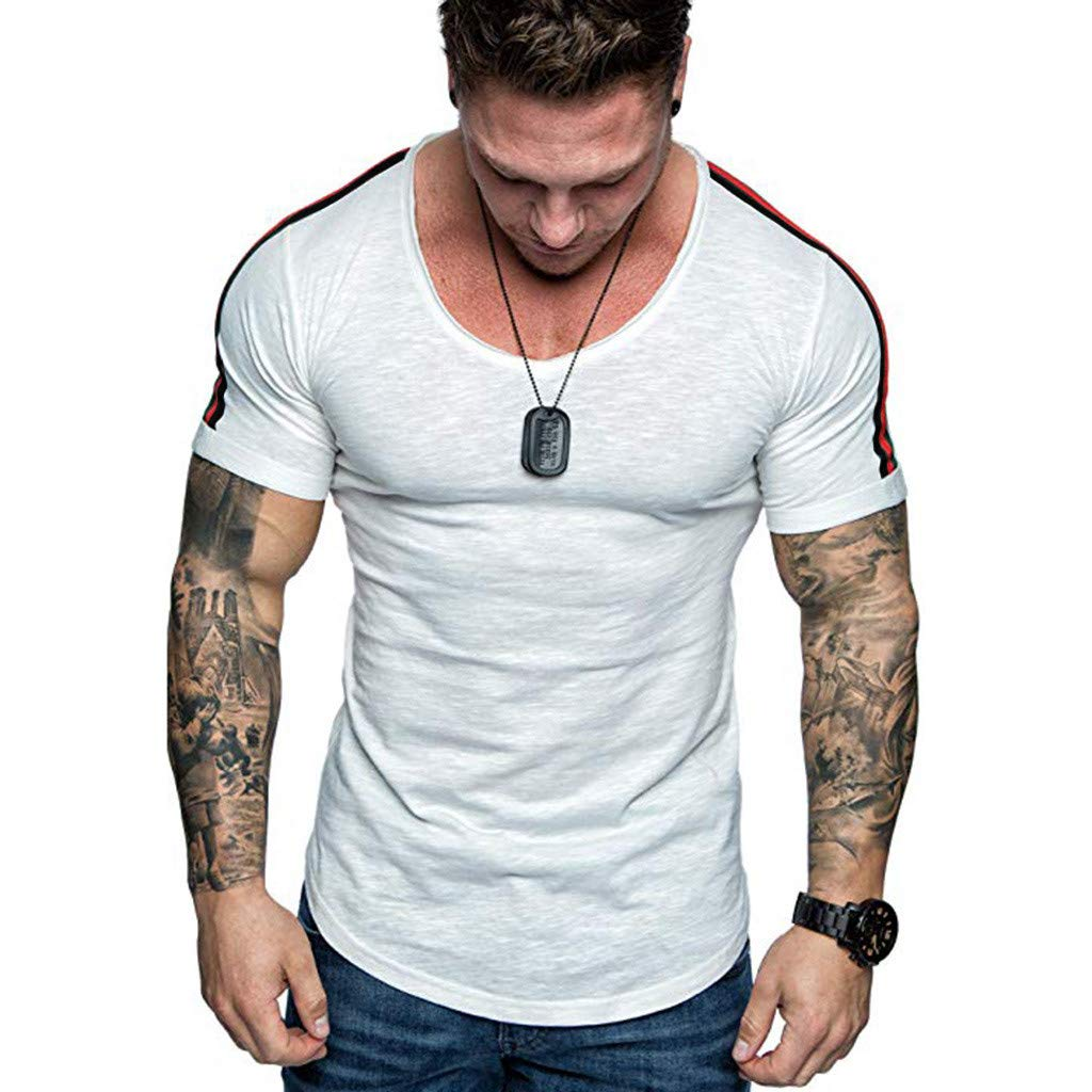 Kirbaez Men's T-Shirt Summer Fashion Short Sleeve Round Neck Personality Casual Sport Shirts Solid Tops Blouse White