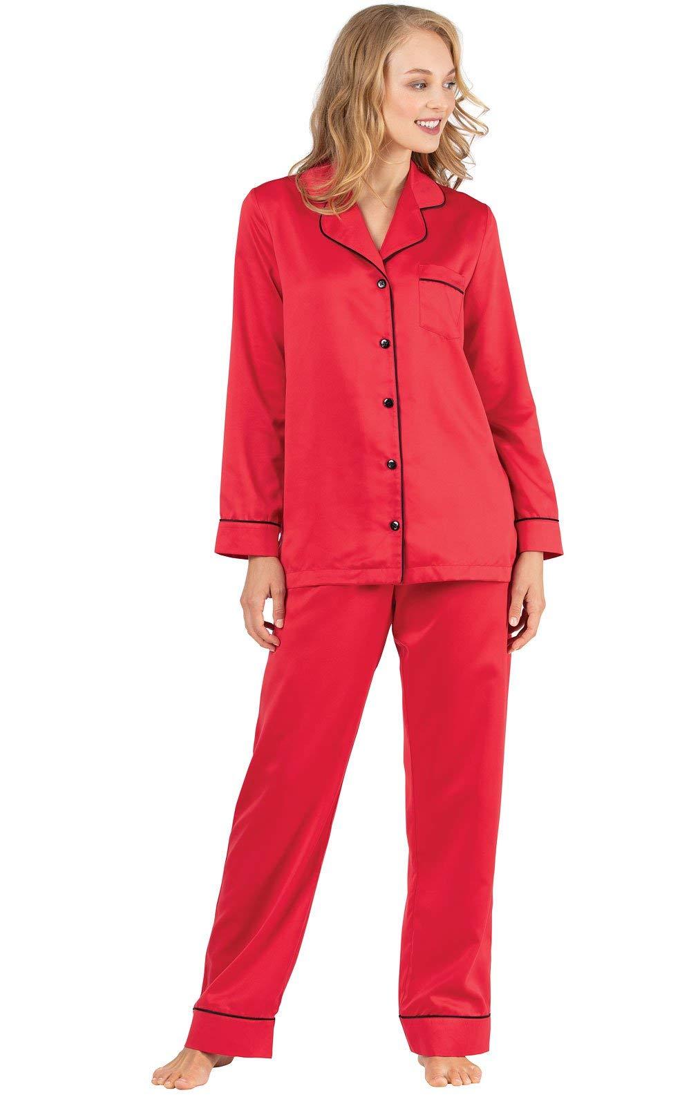 Christmas Pajamas Womens.Pajamagram Womens Pajamas Soft Satin Christmas Pjs For
