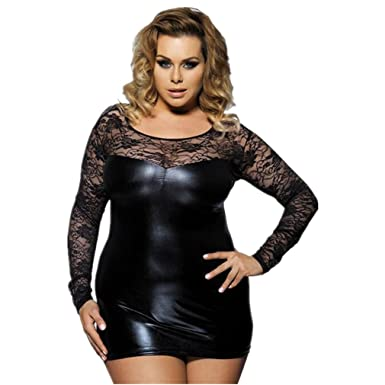 07b9ff62f21 Amazon.com  Black Sexy Lingerie Faux Leather lace Hollow Long Sleeve ...