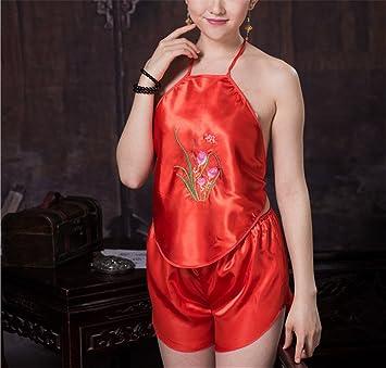 FUDUODUO Abdomen-Estilo Pijama Señoras Extrema Tentación Antigua Corte Bordado Pijamas, Código Uniforme (