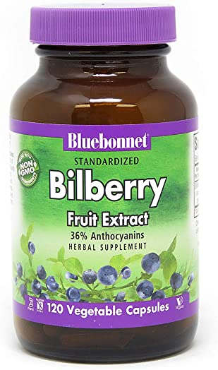 BlueBonnet Bilberry Fruit Extract Supplement, 120 Count