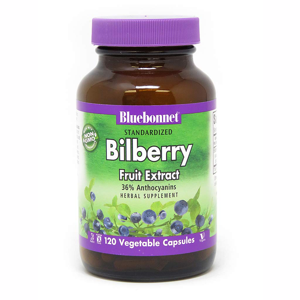 BlueBonnet Bilberry Fruit Extract Supplement, 120 Count