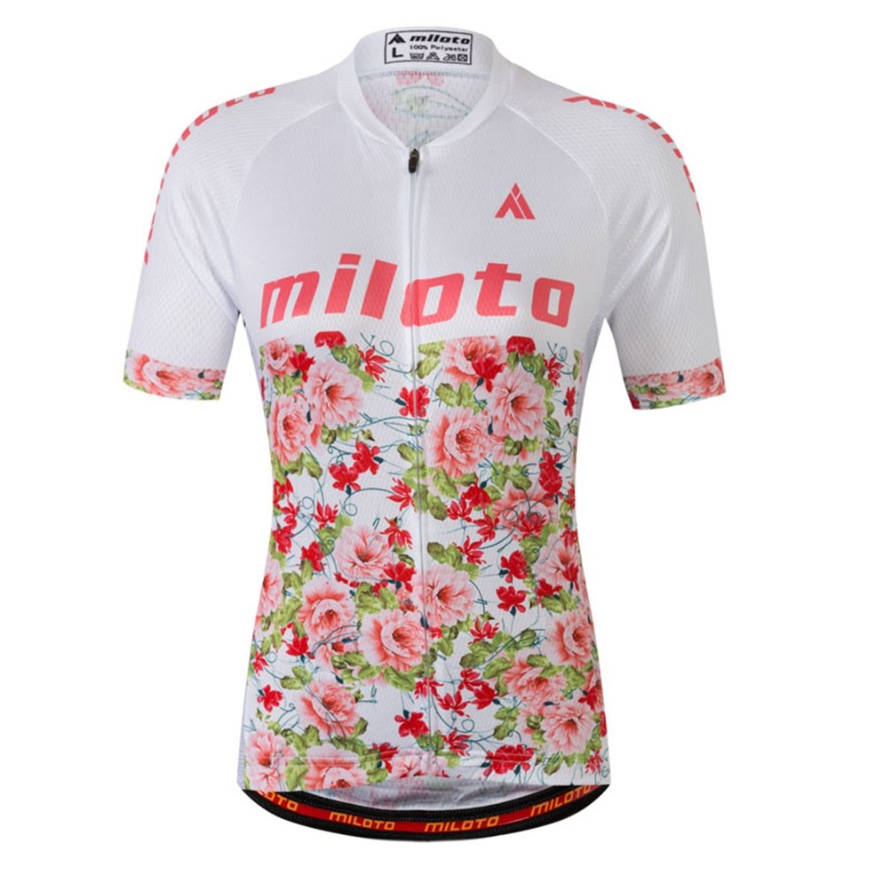 Uriah Women's Cycling Jersey Short Sleeve Reflective Flower Sea Size XXL(CN) by Uriah