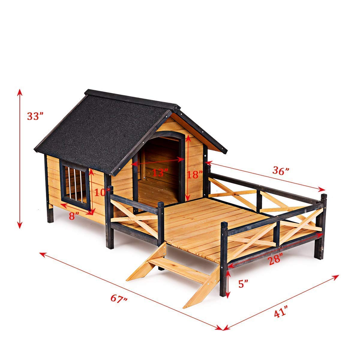 Tangkula Wood Dog House, Cabin Style Large Elevated Weather Waterproof Outdoor Pet Dog House, Lodge with Porch, Spacious Deck for Sunny Nap, Wooden Pet Dog House by Tangkula (Image #6)