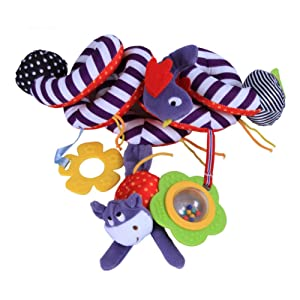 Baby Stroller Toy Activity Spiral Hanging Toy with Ringing Bell Cute Plush Animals Style for Infant Car Seat Baby Bed 1PC