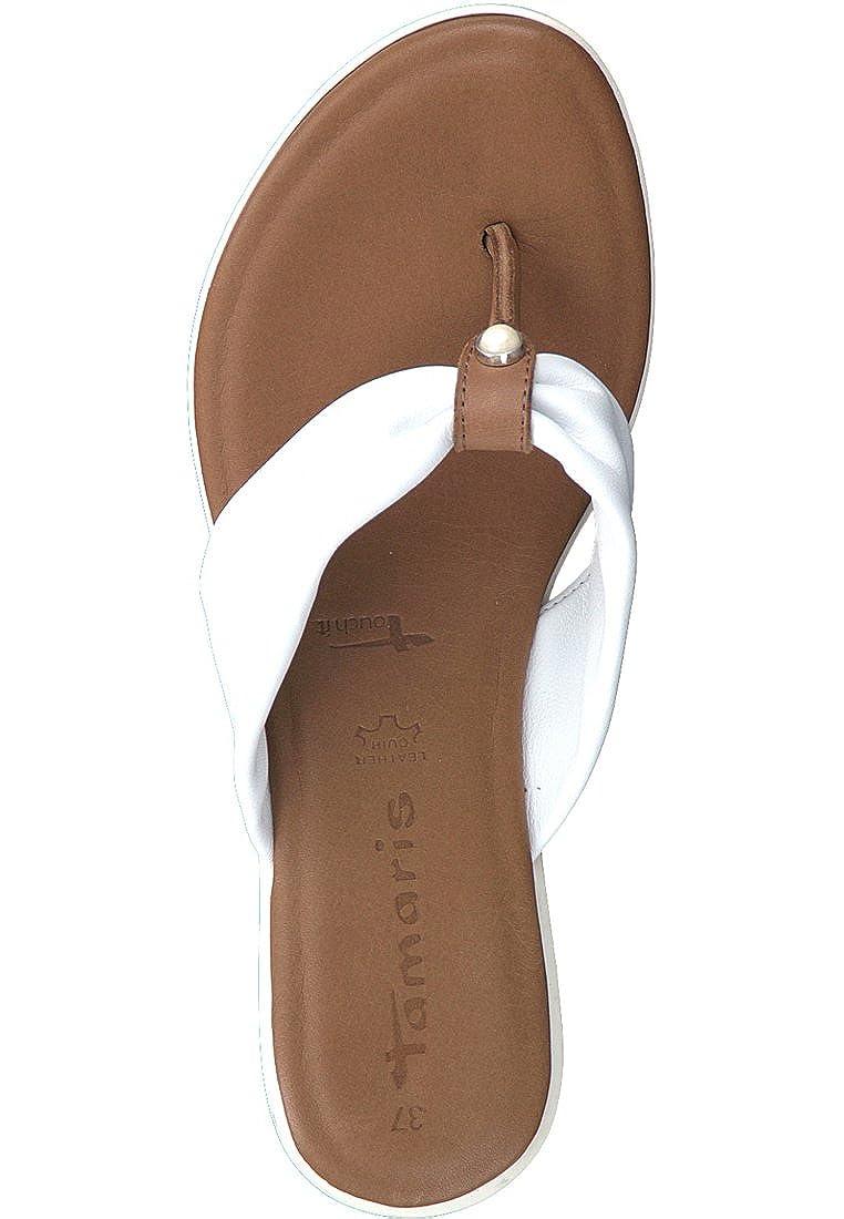 Tamaris 1-27129-20 144 Damen Leder Weiß Cognac Weiß Braun Leder Damen Zehentrenner mit Touch-IT Sohle Weiß/Cognac 8fa02a