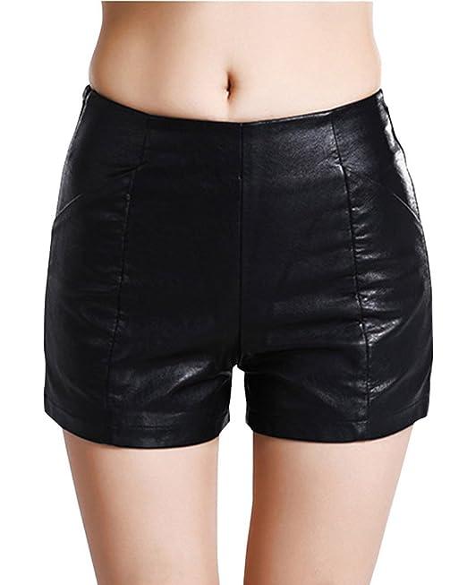 shopping seleziona per ultimo massimo stile Donne Pu Pantaloncini A Vita Alta Shorts Casuale Pelle Sintetico