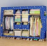 GL&G Wardrobe Closet Portable Oxford cloth Fabric Free Standing Storage Organizer – Portable, Detachable, and Lightweight Solid wood Clothing Closet Home finishing decoration Shelves,E,81''70''