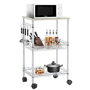 FDW Heavy Duty Utility Cart Wire 3 Tier Rolling Cart Organizer NSFKitchenCart on Wheels Metal Microwave Cart Large with Wire Shelving and Microwave Table Heavy Duty Commercial Grade,Wood/Chrome