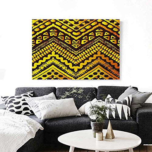 (Tribal Wall Paintings Hand Drawn Painted Ethnic Pattern with Zig Zag and Stripes African Geometric Art Print On Canvas for Wall Decor 36