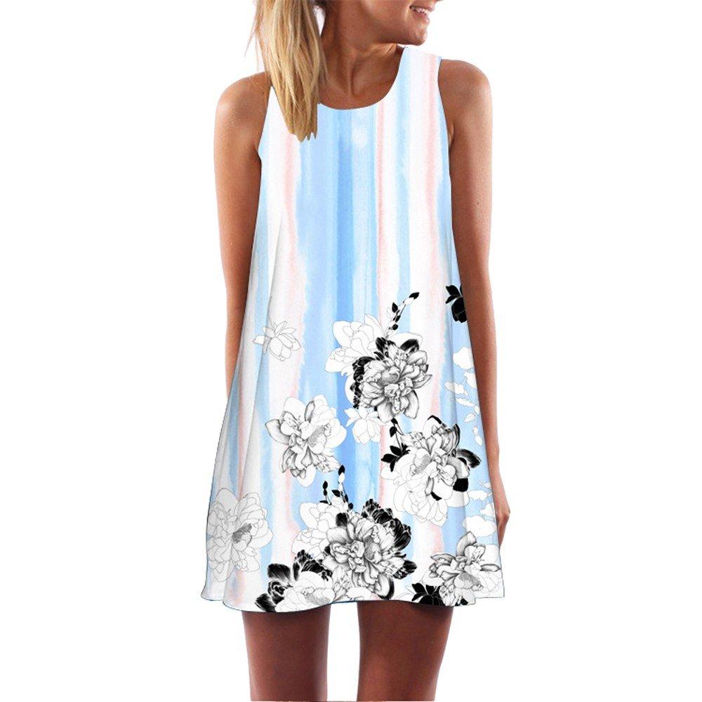 KYLEON Women Dresses Boho Vintage Summer Sleeveless Dress Casual Beach Short Tank Mini Loose T-Shirt Swing Sundress Blue