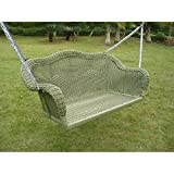 Resin Steel Wicker Hanging Loveseat Patio Porch Swing Antique Moss For Sale