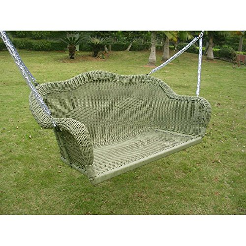 Resin Steel Wicker Hanging Loveseat Patio Porch Swing Antique Moss