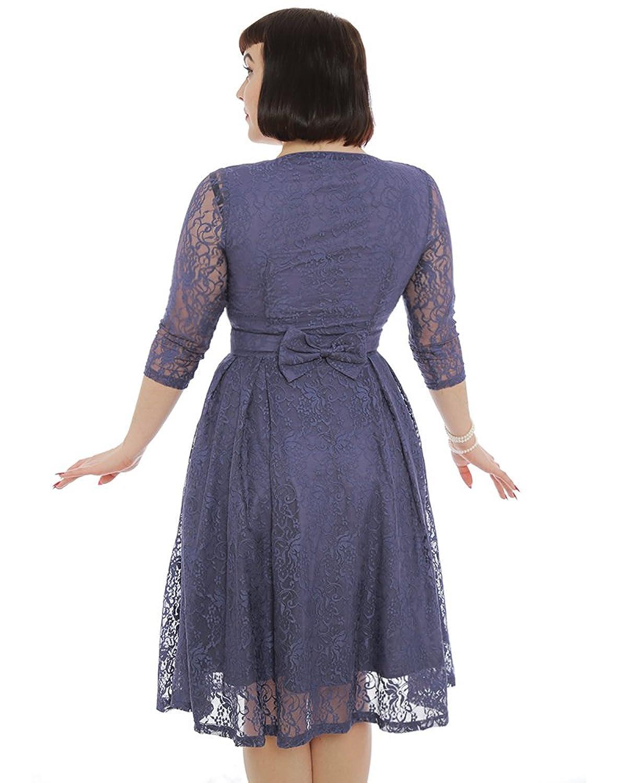 Lindy Bop \'Lisette\' Dusty Lavender Lace Party Dress at Amazon ...