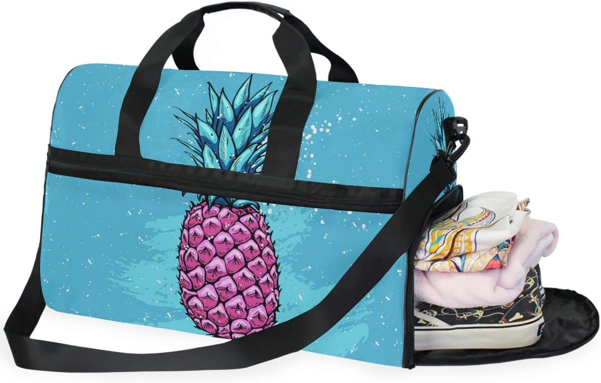 Mage With Pink Pineapple Sports Gym Bag with Shoes Compartment Travel Duffel Bag for Men and Women