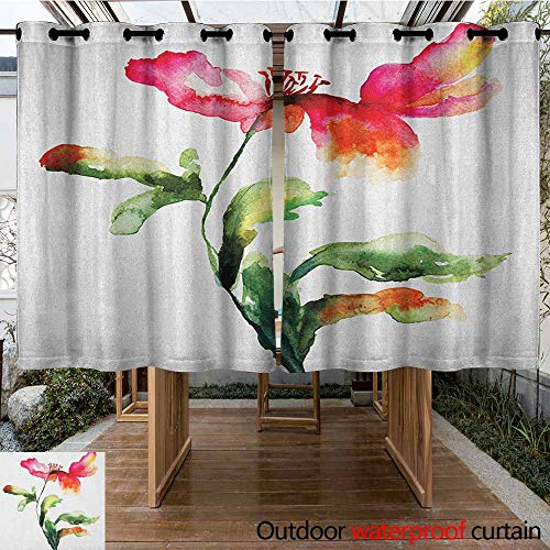 AndyTours Outdoor Curtain Panel for Patio,Watercolor Flower,Shaded Single Poppy Flowering Plant Muse Nature Earth Divine Grace,Darkening Thermal Insulated Blackout,K140C100 Red Green - Valance Divine