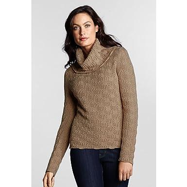 Lands  End Women s Regular Super Fine Merino Cashmere Pointelle Cowlneck  Sweater 2cd2919af
