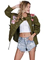 Simplee Apparel Women's Basic Outwear Jacket with Embroidery Patch Army Green