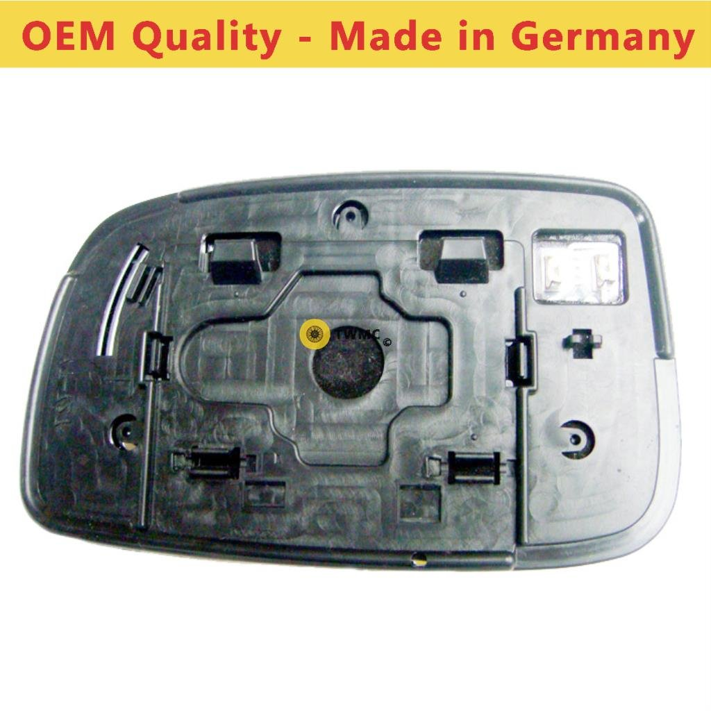 TO-Prius 2004 to 2008 Heated, Silver Wide Angle Wing/Door Mirror Glass Including Base Plate RH(Driver Side)