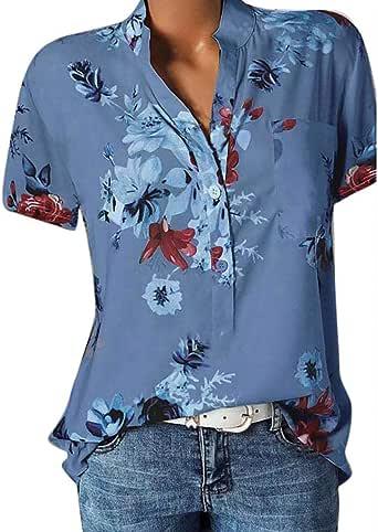 Camisetas Mujer Tallas Grandes Heavy SHOBDW Estampado Floral Playa Verano Bolsillo Blusa De Manga Corta Camiseta De Bolsillo Camisa Sexy con Cuello En V para Mujer S-5XL: Amazon.es: Ropa y accesorios