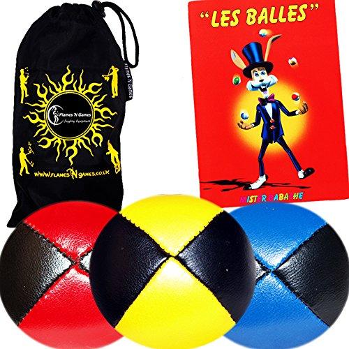 3x Balles de Jonglage En Cuir Super Durable (Leather) - MR Babache Livre sur les techniques de jonglage (en français) + Sac de transport
