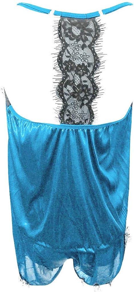 V/êtements de Nuit pour Femmes Sangle sans Manches Nightwear Dentelle Satin Camis Hauts Ensembles de Pyjama Short Type C