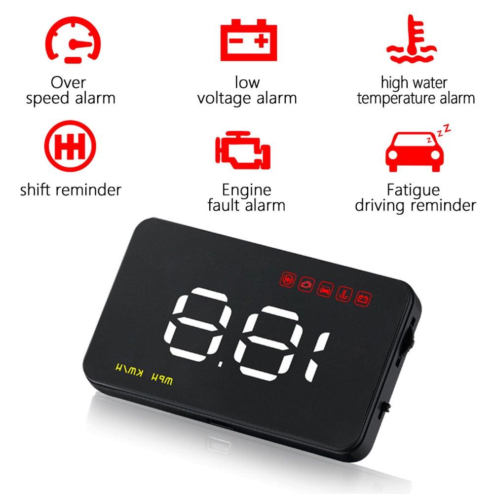 heaven2017ユニバーサルCar Speeding警告自動GPSデジタルヘッド車HUD, L41BK27T2J2GFZX914F3G68 B07BQWLRDS  ブラック