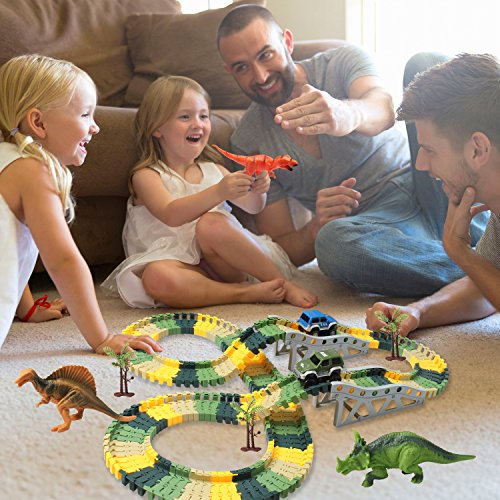 HOMOFY-Dinosaur-Toys-192-Pcs-Race-Car-Flexible-Track-Sets-Jurassic-World-3-Dinosaurs2-Military-Vehicles4-Trees1-Turntable2-Slopes3-for-2-3-4-Year-Old-Girls-and-Boys