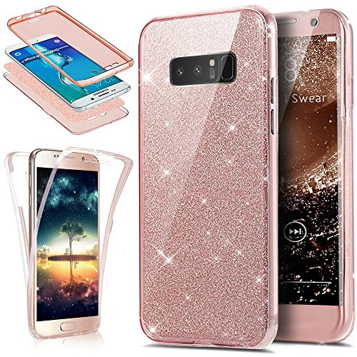 - Galaxy Note 8 Case,ikasus [Full-Body 360 Coverage Protective] Crystal Clear 2in1 Sparkly Shiny Glitter Bling Front Back Full Coverage Soft Clear TPU Silicone Rubber Case for Galaxy Note 8,Rose Gold