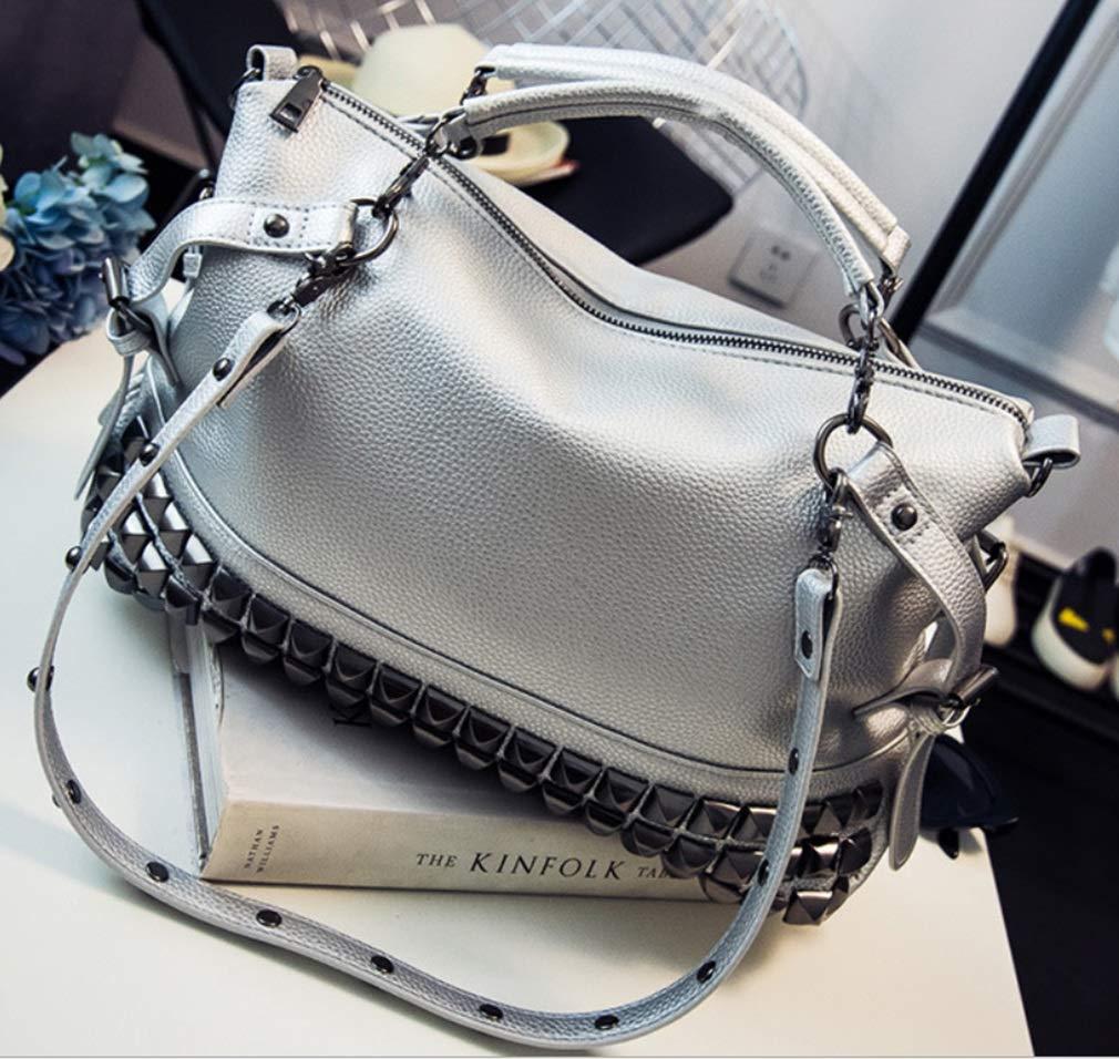 RSQJ Damen große Kapazität Nieten große Tasche Eine Schulter diagonal Handtasche