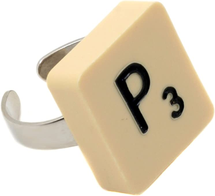 Anillo Ficha de Scrabble Letra P Kitsch Emo Punk Singular idea de regalo: Amazon.es: Hogar