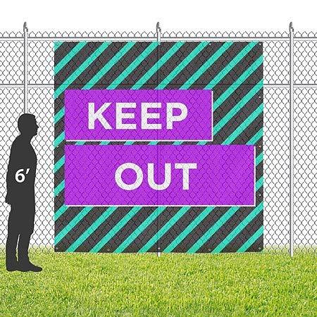 CGSignLab 8x8 Keep Out Modern Block Wind-Resistant Outdoor Mesh Vinyl Banner