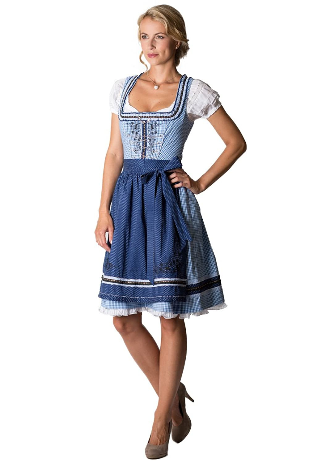 spieth wensky damen mini dirndl adeline blau d010179. Black Bedroom Furniture Sets. Home Design Ideas