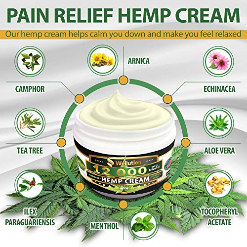 61cC2RntbCL - Hemp Cream - 12000 mg / 4 oz - Natural Seed Oil Extract for Knee, Lower Back, Foot, Muscle, Wrist and Joint Pain Relief - Extra Strength Massage Lotion with Arnica, Menthol and Organic Oils