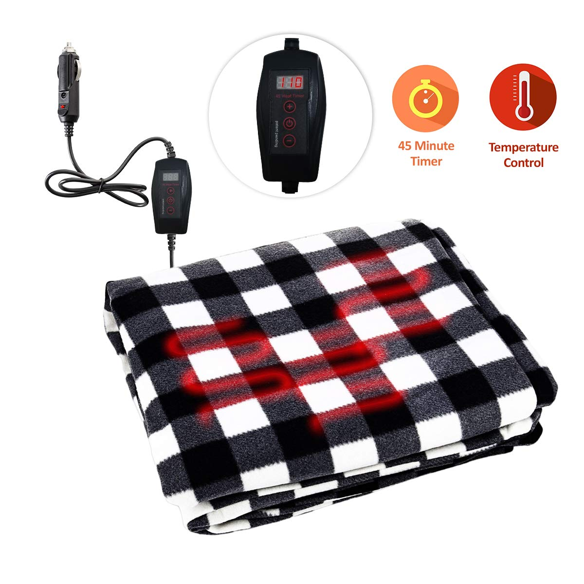 Zone Tech Car Heated Travel Blanket - Black and White Premium Quality 12V Automotive Comfortable Heating Car Seat Blanket Great for Winter by ZONETECH