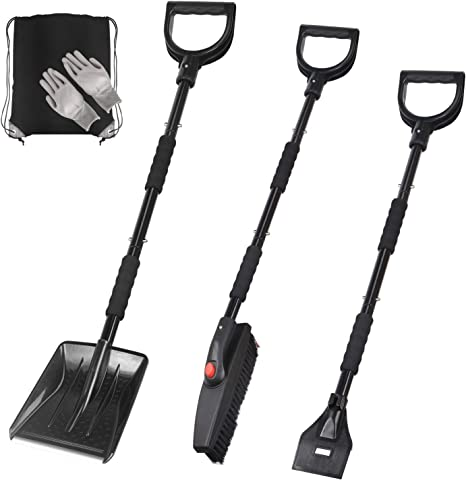 Snow Rotary Brush Collapsible Metal Snow Shovel Backyard and Outdoor Activities 3-in-1 Snow Shovel Kit Driveway Truck Camping Ice Scraper- Portable Emergency Snow Removal Set for Car
