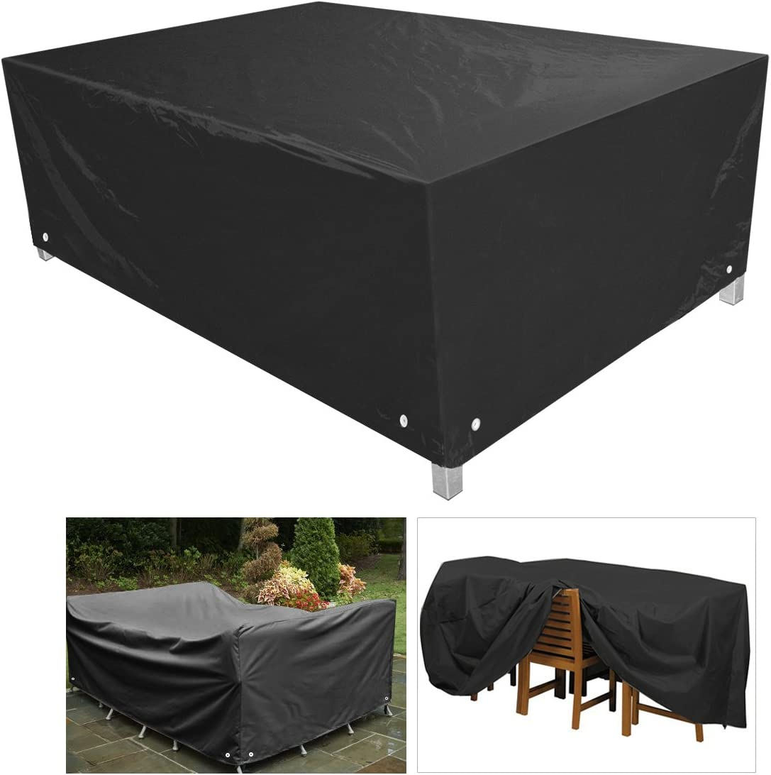 Outdoor Furniture cover protective covers for Patio Table and Chair Set 213 X 132 X 74CM Black