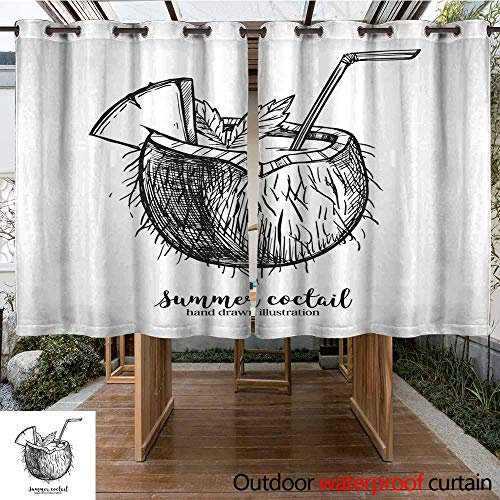 RenteriaDecor Home Patio Outdoor Curtain Hand Drawn Vector Illustration Tropical Coconut Coctail Summer time Perfect for Invitations Greeting Cards blogs Poste W84 x L72