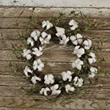 The Country House Collection Cotton 'N' Leaves Boll Floral Wreath (20'' Outer Diameter)
