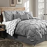 hampton house - 7 Piece Luxury Reversible Bedding Comforter Set with Pintucks on Sale - Queen Size, Gray Color