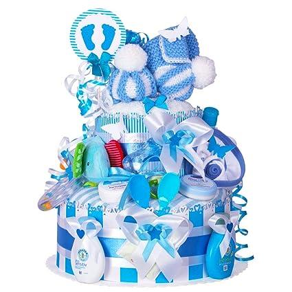 Gâteau de couches pour Baby Boy dans un beau bleu ton ...