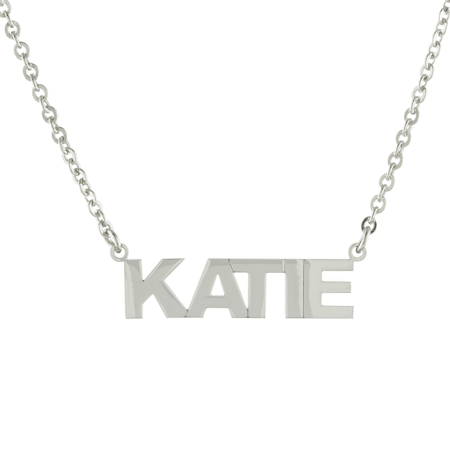 Sterling Silver Custom-Made Nameplate Block Font Pendant Necklace, 16'''' +2'''' Extender